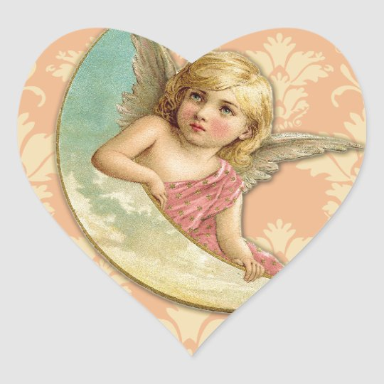 Vintage Angel // Aqua, Coral & Gold Heart Sticker