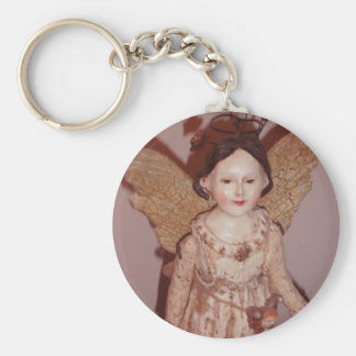 Vintage Angel Basic Round Button Key Ring