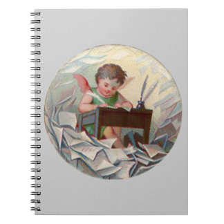 Vintage Angel Child Writing at Desk Spiral Notebook