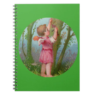 Vintage Angel Child Writing on Tree Notebooks