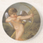 Vintage Angel, Cupid Inspiring the Plants w Love Drink Coaster
