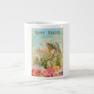 Vintage Angel Feeding Lamb Happy Easter Large Coffee Mug