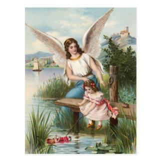Vintage angel guardian angel with girls postcard