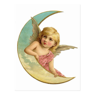 Vintage Angel on Crescent Moon Postcard