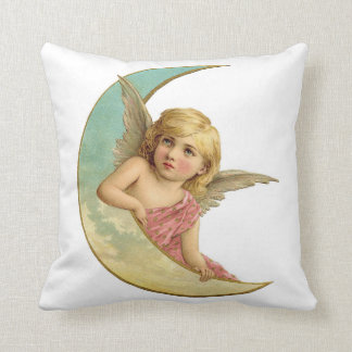 Vintage Angel on Crescent Moon Throw Pillow