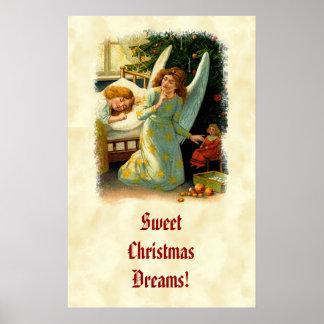 Vintage Angel Sleeping Girl Christmas Tree CH411 Poster