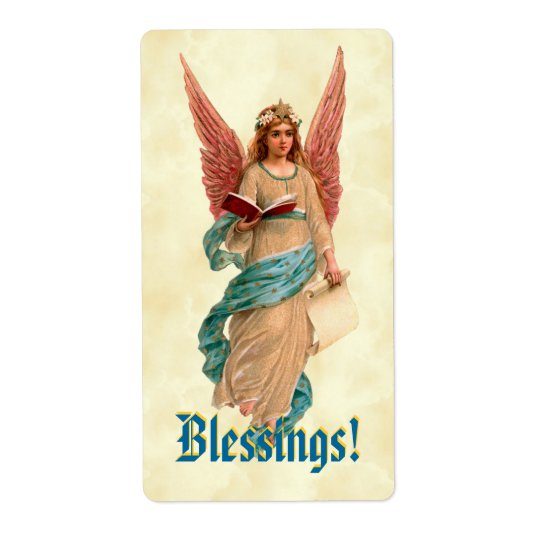Vintage Angel with Book Pink Wings Blessings