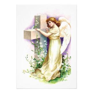 Vintage Angel With Christian Cross Custom Invite