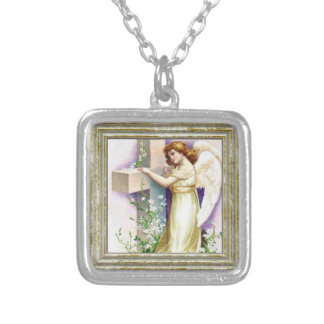 Vintage Angel With Christian Cross Silver Plated Necklace