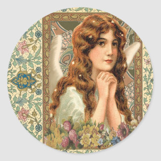 Vintage Angel with Flowers Classic Round Sticker