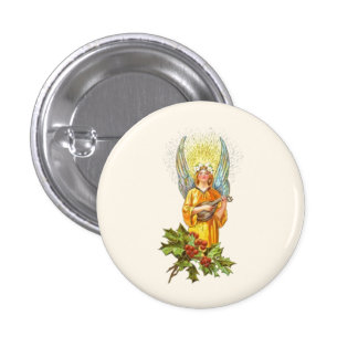 Vintage Angel With holly And Mandolin 3 Cm Round Badge