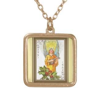 Vintage Angel With holly And Mandolin Gold Plated Necklace