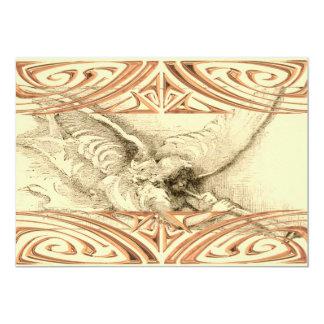 "Vintage Angel With Trumpet Metal Look Scrolls 5"" X 7"" Invitation Card"