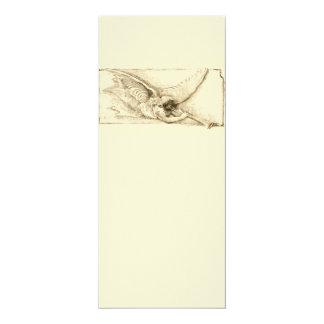 Vintage Angel With Trumpet Monotone 10 Cm X 24 Cm Invitation Card