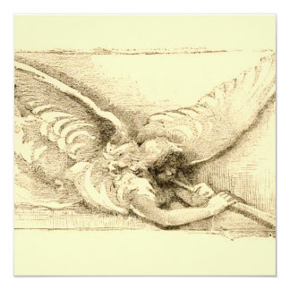 Vintage Angel With Trumpet Monotone 13 Cm X 13 Cm Square Invitation Card