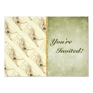 Vintage Angel With Trumpet Monotone 13 Cm X 18 Cm Invitation Card