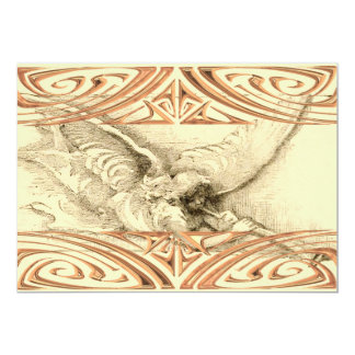 Vintage Angel With Trumpet Monotone 13 Cm X 18 Cm Invitation Card