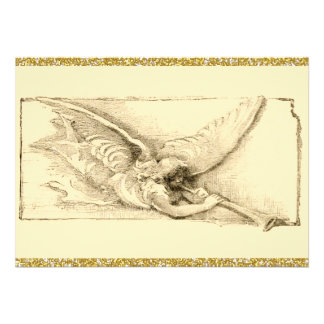 Vintage Angel With Trumpet Monotone Card