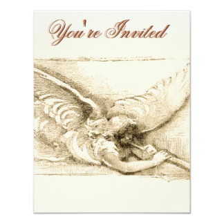 Vintage Angel With Trumpet Monotone 4.25x5.5 Paper Invitation Card