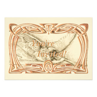 Vintage Angel With Trumpet Monotone Personalized Invitations