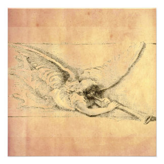 Vintage Angel With Trumpet Monotone Invites
