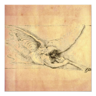 Vintage Angel With Trumpet Monotone 5.25x5.25 Square Paper Invitation Card