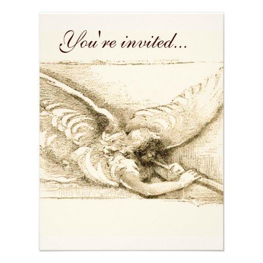 Vintage Angel With Trumpet Monotone Custom Invitation
