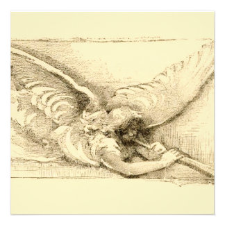Vintage Angel With Trumpet Monotone Invitation