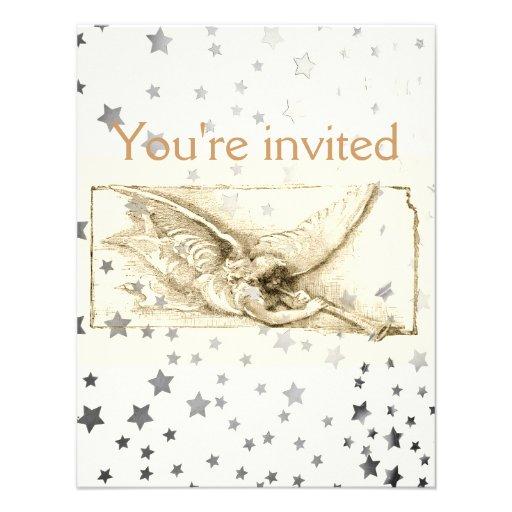 Vintage Angel With Trumpet Monotone Custom Invites
