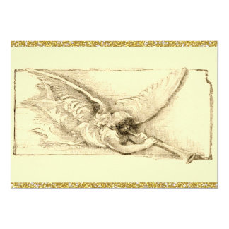 Vintage Angel With Trumpet Monotone 5x7 Paper Invitation Card