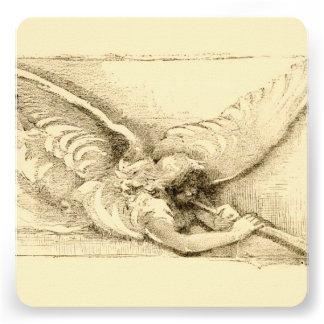 Vintage Angel With Trumpet Monotone Invite