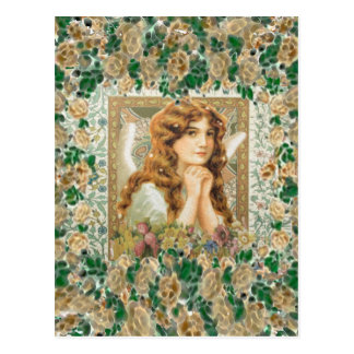 Vintage Angel with Yellow Roses Post Card