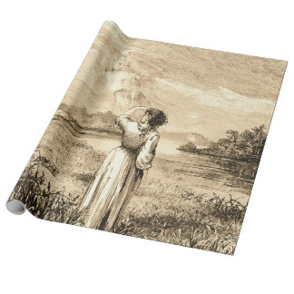 vintage angel wrapping paper