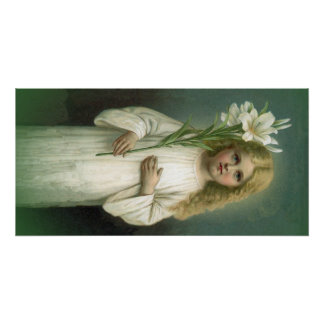 Vintage Angelic Girl White Dress Lily Flowers Poster