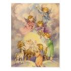 Vintage Angels Around Baby Jesus Postcard