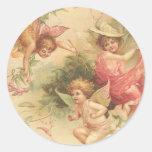 vintage angels classic round sticker