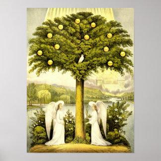 Vintage Angels & Dove in Lemon Tree Poster