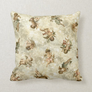 Vintage Angels Glittering Gold ID136 Throw Pillow