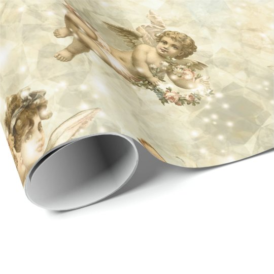 Vintage Angels Glittering Gold ID136 Wrapping Paper