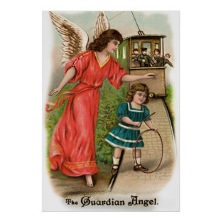 Vintage angels guardian angel tram and girl posters