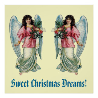Vintage Angels Pink Top Christmas Dreams CH405 Poster