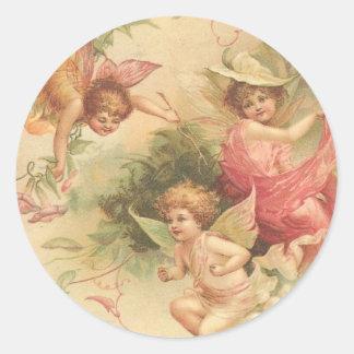 vintage angels round sticker