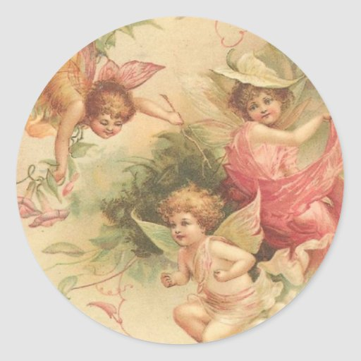 vintage angels round stickers