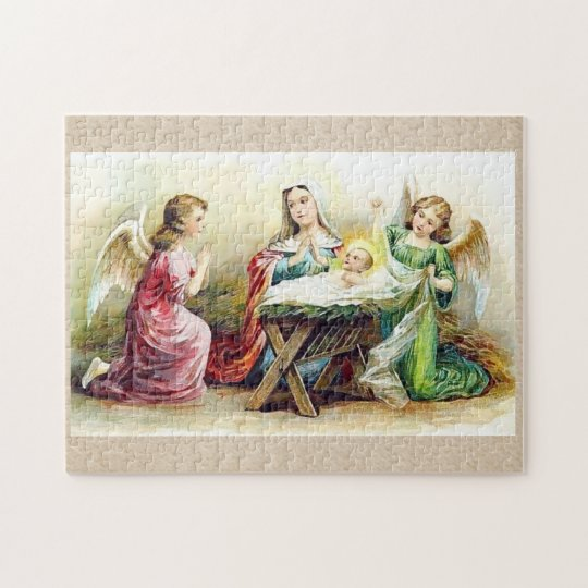 Vintage Angels Surrounding Baby Jesus and Mary Jigsaw