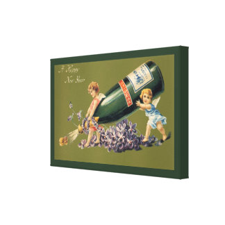 Vintage Angels with Champagne; A Happy New Year Canvas Prints