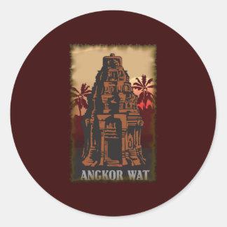 Vintage Angkor Wat Classic Round Sticker