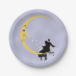 Vintage Angry Crescent Moon Face Stars Couple Paper Plate