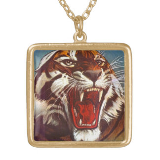 Vintage angry tiger Big Cat hiss snarl  Necklace