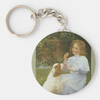 Vintage Animal Art, Pleasures of Hope by Gore Basic Round Button Key Ring