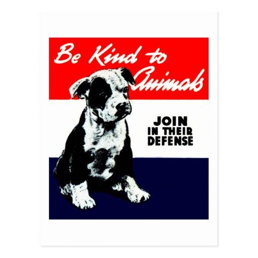 Vintage Animal Kindness Poster Postcards